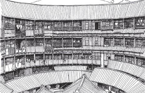 中国福建省にある客家の円形土楼